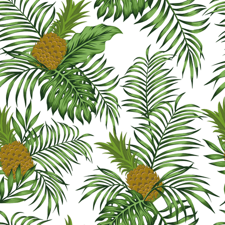 Exotic fruit pineapple green tropical leaves on the white background. Seamless flat vector pattern
