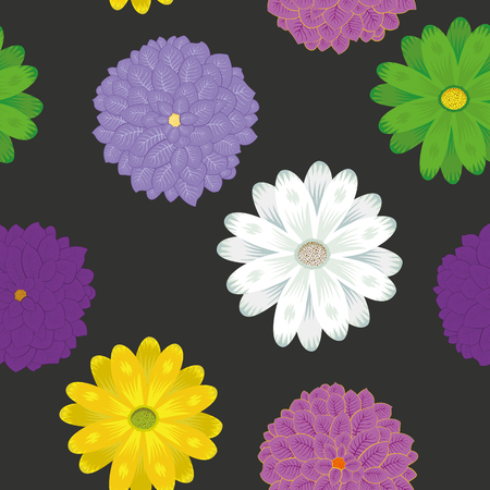 Multicolor spring meadow flowers chamomile vector flat style seamless pattern on the black background