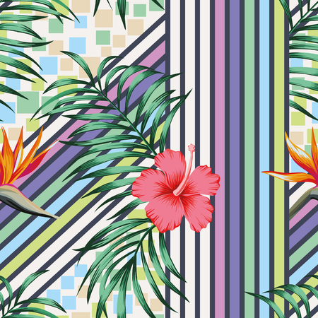 Tropical palm leaves and hibiscus flowers bird of paradise on the abstract line and square geometric multicolor background