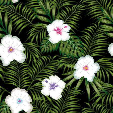 White hibiscus flowers and green tropical leaves seamless vector pattern on the black background Stock Illustratie