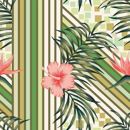 Abstract seamless wallpaper exotic composition from tropical palm leaves and hibiscus, bird of paradise flowers. Trendy vector pattern geometrical lines and squares background