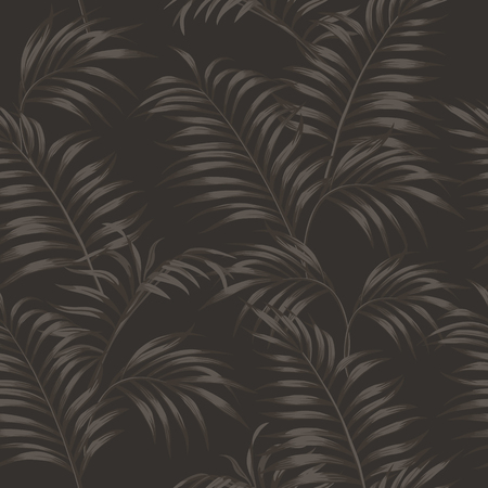 Brown tropical palm leaves seamless vector pattern on the taup background. Smoky wallpaper