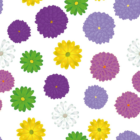 Multicolor spring meadow chamomile flowers seamless vector pattern on the white background. Summer trendy wallpaper Ilustracja