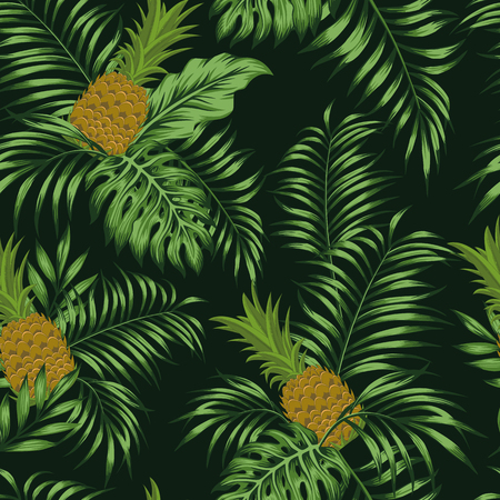 Fresh fruit brown pineapple and green tropical palm leaves seamless pattern on the black background. Exotic vector wallpaper Stock Illustratie