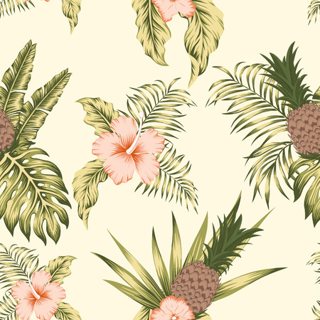 Trendy tropical botanical seamless vector pattern exotic trendy design hibiscus flowers, banana leaves and pineapple on the beige background Stock Illustratie