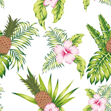 Trendy botanico tropicale senza cuciture modello esotico design alla moda fiori di ibisco, foglie di banana e ananas su sfondo bianco