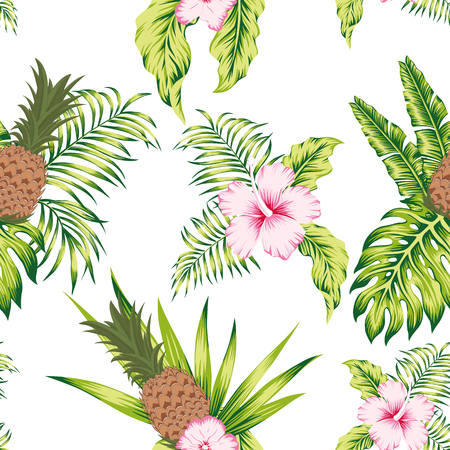 Trendy tropical botanical seamless vector pattern exotic trendy design hibiscus flowers, banana leaves and pineapple on the white background