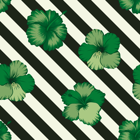 Exotic tropical flowers hibiscus in abstract green color seamless vector pattern on a background of geometric diagonal black and white lines
