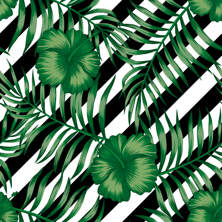 Beautiful flowers tropical abstract color hibiscus and green palm leaves seamless vector pattern on a background of geometric diagonal black and white lines