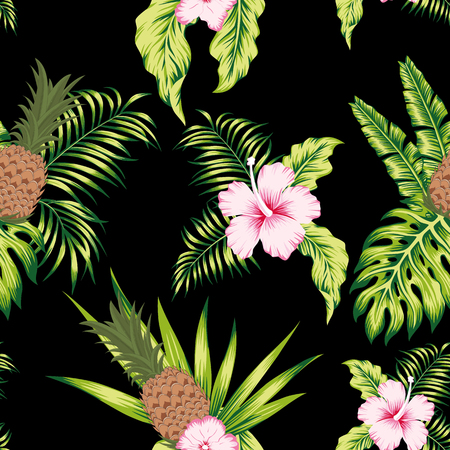 Tropical botanical realistic flowers white hibiscus, green leaves and pineapple seamless vector pattern exotic design on the black background
