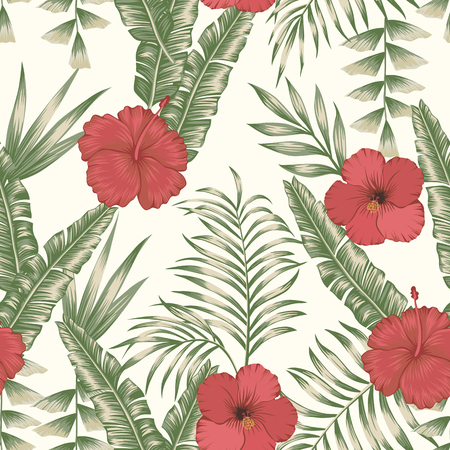 Tropical flowers red and white hibiscus on the green palm banana leaves seamless vector pattern. Exotic botanical background