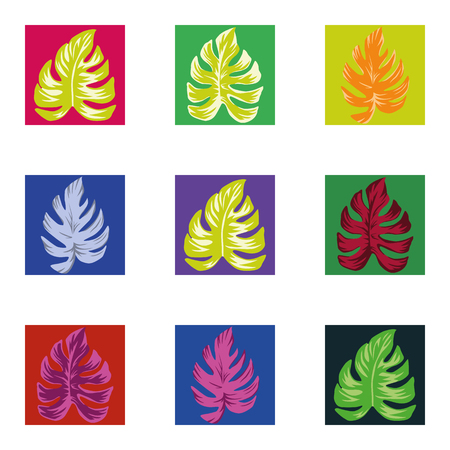 Abstract color vector tropical monstera leaves in the multicolor square seamless pattern on the white background. Trendy botanical overlapping home decaration wallpaper Stock Illustratie