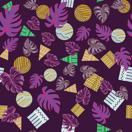 Abstract overlapping geometric pattern with tropical monstera leaves and circle square triangle seamless pattern on the bordo background