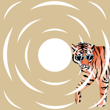 Tiger in the sunglasses on the abstract white circle and beige background