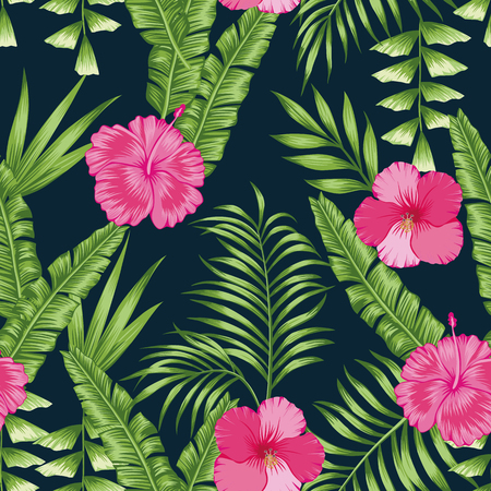 Tropical green palm banana leaves and pink hibiscus flowers seamless vector pattern on the navy blue background. Trendy botanical overlapping background