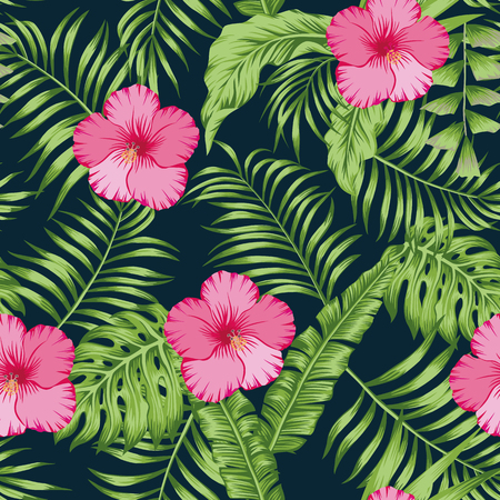 Tropical green palm banana leaves and pink hibiscus flowers seamless vector pattern on the dark blue background. Trendy botanical overlapping background Stock Illustratie