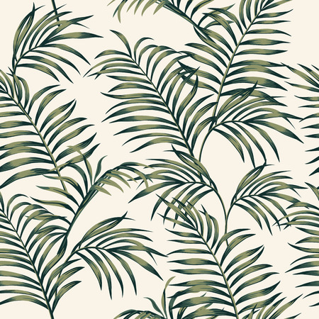 Tropical palm leaves vector seamless pattern on the white background. Trendy botanical overlapping background Stock Illustratie
