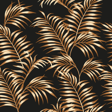 Tropical palm leaves of gold color seamless vector pattern on the black background Stock Illustratie