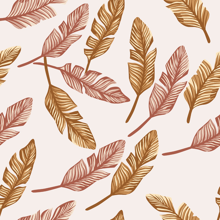 Tropical palm banana leaves of golden color seamless vector pattern on the beige background