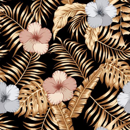 Foglie tropicali dorate e bronzo, fiori di ibisco d'argento senza cuciture sullo sfondo nero