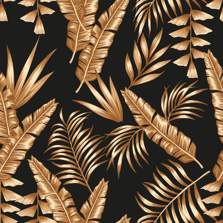 Tropical palm banana leaves of golden color seamless vector pattern on the black background Stock Illustratie