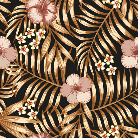 Exotic flowers hibiscus and  frangipani (plumeria) golden palm leaves seamless vector pattern on the black background