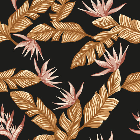 Seamless composition from golden tropical leaves and pink gold flowers bird of paradise on the black background Stock Illustratie