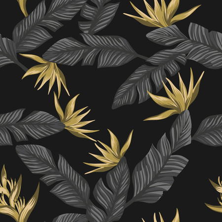 Seamless exotic composition from gray tropical banana leaves and gold flowers bird of paradise on the black background Çizim