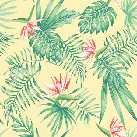 Exotic flowers bird of paradise (strelizia) tropical palm, monstera leaves on the beach sand background pattern. Realistic vector seamless botanical composition