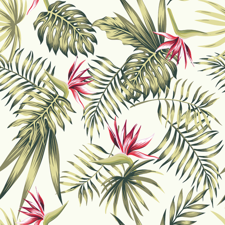 Exotic flowers bird of paradise (strelizia) green tropical palm, monstera leaves on the beach white background pattern. Realistic vector seamless botanical composition Stock Illustratie