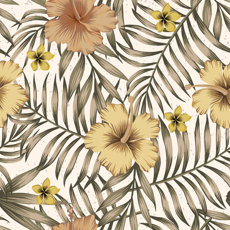 Brown tropical palm leaves and trendy golden hibiscus flowers on the beige background. Realistic vector seamless pattern botanical composition Stock Illustratie