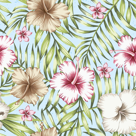 Green tropical palm leaves and pink, brown hibiscus exotic flowers. Trendy botanical pattern, realistic vector seamless composition on the light blue background