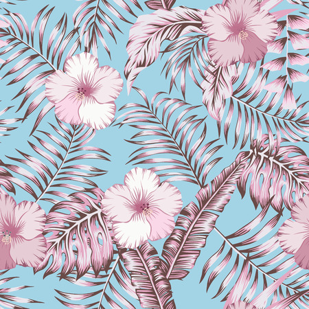 Pink tropical palm leaves and pink hibiscus exotic flowers. Trendy botanical pattern, realistic vector seamless composition on the light blue background