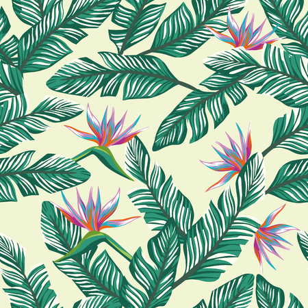 Exotic flowers bird of paradise (strelizia) abstract color and green tropical banana leaves on the beach sand background pattern. Realistic vector seamless botanical composition