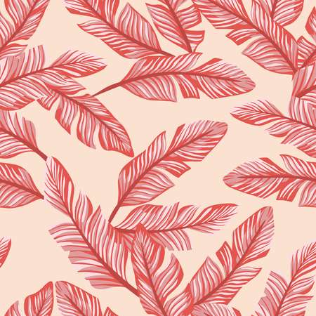 Abstract color seamless vector pattern composition living coral tropical banana leaves on the peach background