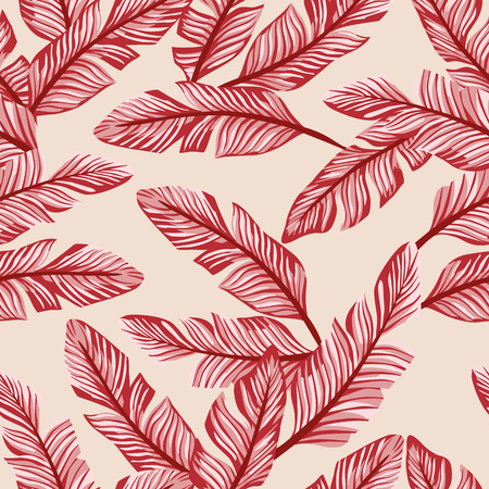 Abstract color seamless vector pattern composition red tropical banana leaves on the peach background