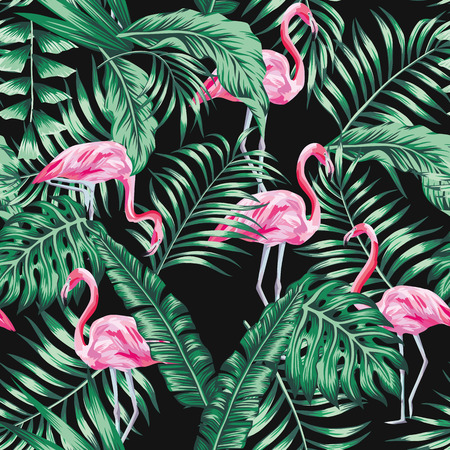 Green tropical palm banana leaves and beautifulexotic bird pink flamingo seamless vector pattern on the black background