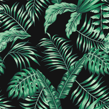 Green tropical palm banana leaves seamless vector pattern on the black background Ilustração