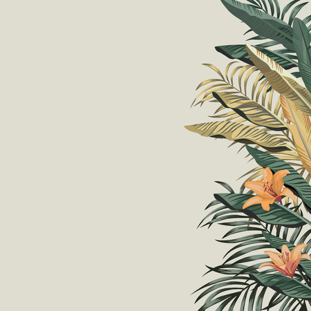 Tropical exotic green, golden banana leaves and orange beauty flowers composition. Vector left border pattern