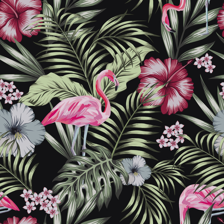 Beautiful tropical bird pink flamingo with flowers hibiscus, plumeria (frangipani) and palm, banana leaves composition. Vector seamless pattern on the black background