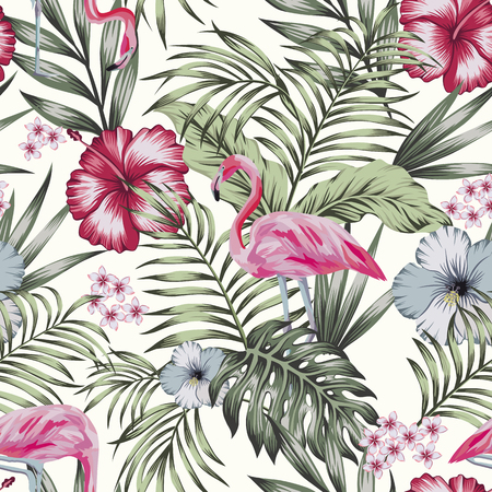 Beautiful tropical bird pink flamingo with flowers hibiscus, plumeria (frangipani) and palm, banana leaves composition. Vector seamless pattern on the white background