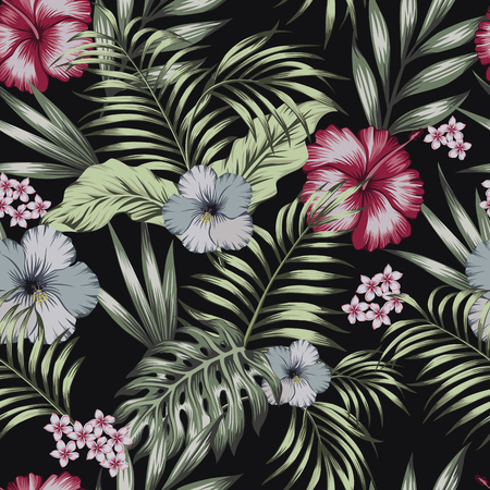 Tropical exotic flowers hibiscus, frangipani (plumeria) and palm, banana leaves composition. Vector seamless pattern on the black background