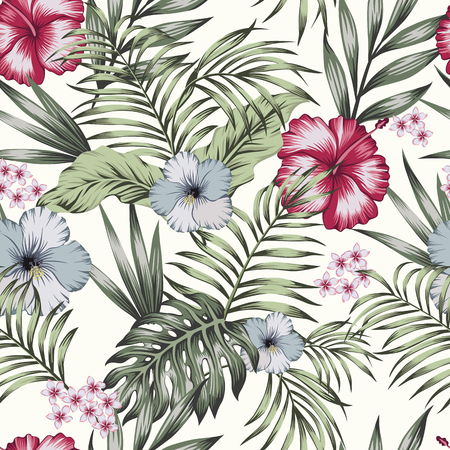 Tropical exotic flowers hibiscus, frangipani (plumeria) and palm, banana leaves composition. Vector seamless pattern on the white background
