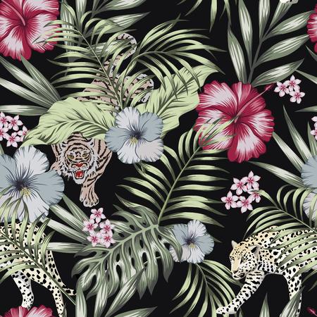 Tigre y pantera de animales exóticos salvajes en la jungla nocturna con flores de hibisco y hojas de palma plátano. Patrón transparente de vector botánico sobre fondo negro