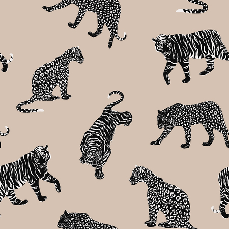 Black white wild animal tiger, panther, leopard, cheetah seamless pattern on the beige background. Trendy vector composition