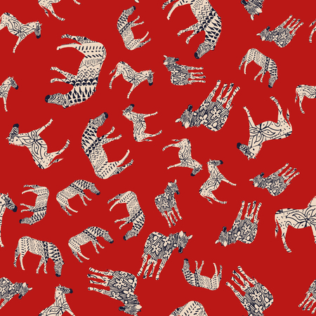 Horse zebra wild animal abstract coloring red background. Trendy vector illustrations seamless pattern composition Stock Illustratie