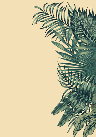 Vector vintage card trendy invitation right template design with green palm, banana tropical leaves on the beige background. Botanical illustration