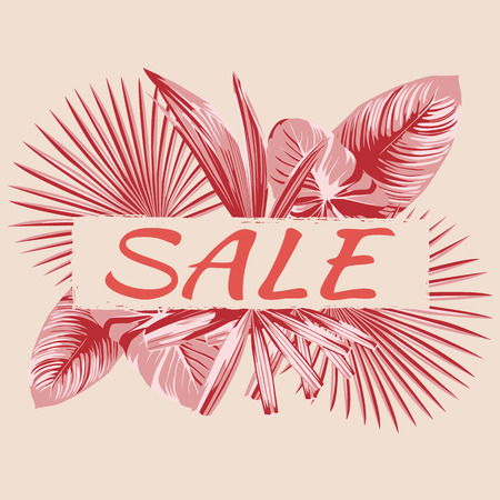 Summer sale banner slogan on the living coral style background. Vector illustration template