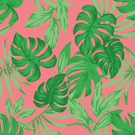 Tropical green leaves on the living coral background. Seamless vector pattern Stock Illustratie
