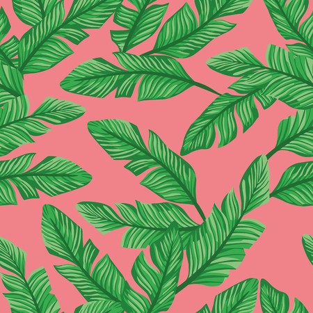 Vector seamless composition green banana leaves on the living coral background. Pattern graphic design